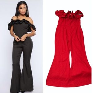 New Forever 21 Tea and Cup red ruffle jumpsuit
